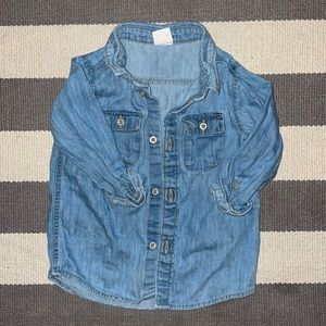 H&M denim long sleeve collared shirt 9-12mo